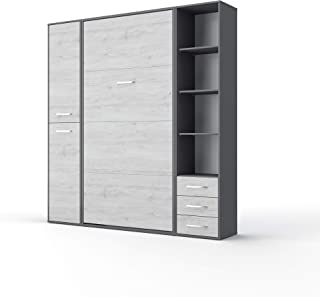 Contempo Vertical Wall Bed, European King Size with 2 cabinets (Grey/White Monaco)