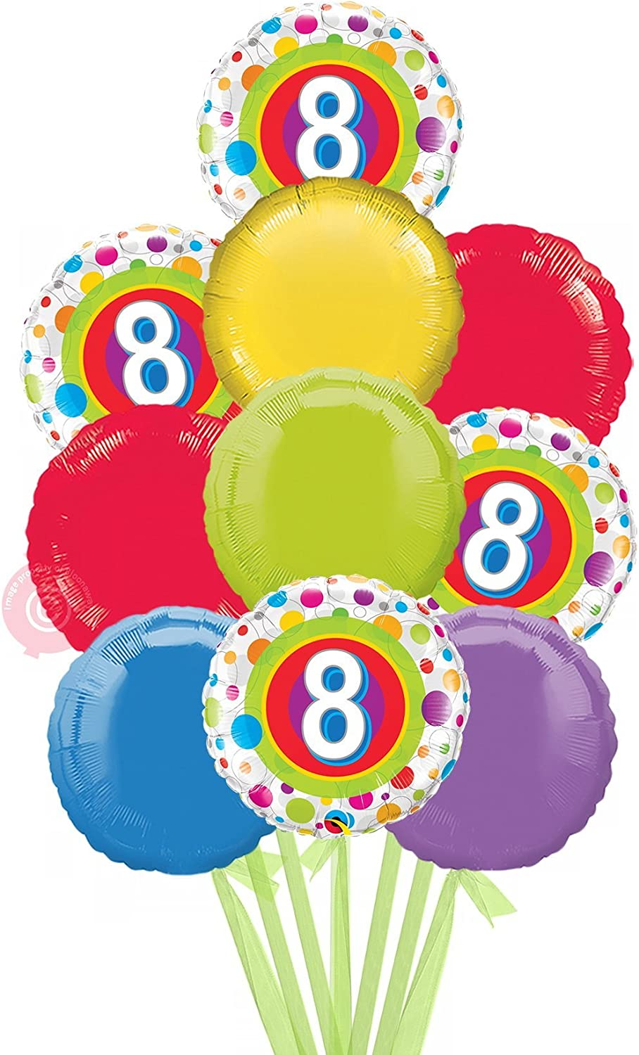 No 8 Colourful Dots  Inflated Birthday Helium Balloon Delivered in a Box  Biggest Bouquet  10 Balloons  Bloonaway