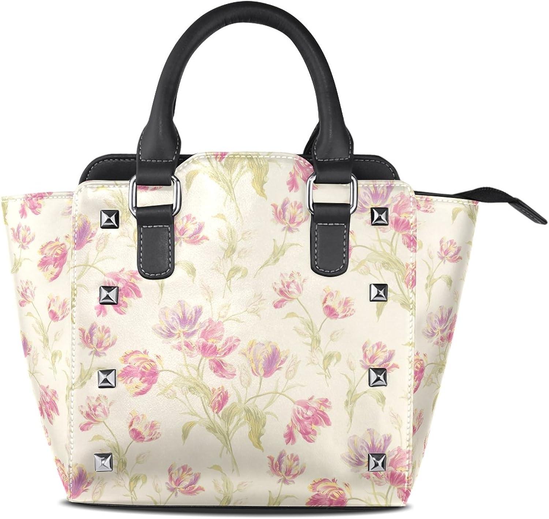 Sunlome Retro Pink Floral Flower Print Women's Leather Tote Shoulder Bags Handbags