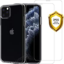 ANEWSIR 2X Vetro Temperato Compatibile con iPhone 11 PRO 2019 +Cover per iPhone 11 PRO,Custodia per iPhone 11 PRO Antiscivolo AntiGraffio Antiurto -Trasparente
