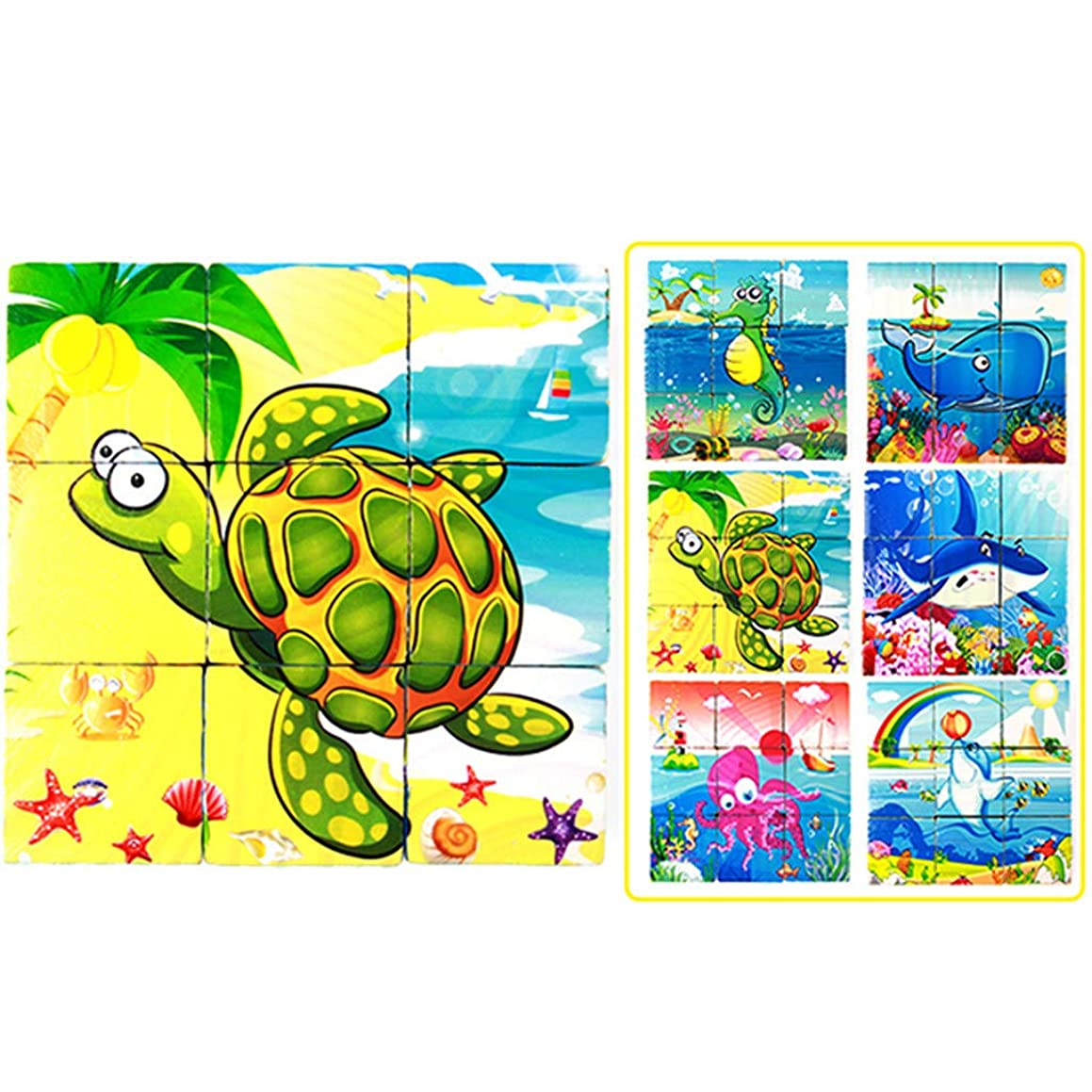Wooden Animal Block Puzzle Jigsaw Educational Brain Teasers Toys for Toddlers for Kid Boys Girls