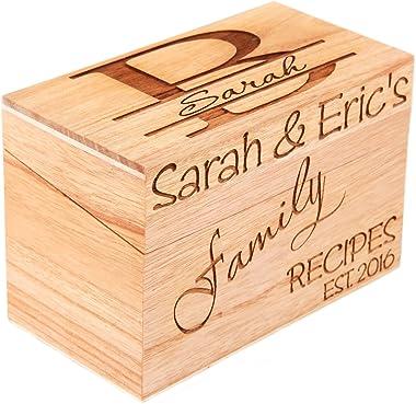 LGU(TM Monogrammed Personalized Custom Family Recipe Box Wood Box