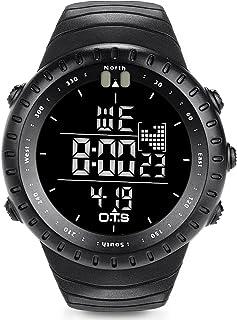 O.T.S Men's Sports Digital Watch Outdoor Waterproof with LED Backlight (Black)