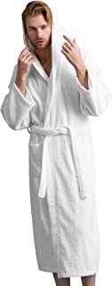 Men's Hooded Bathrobe of Premium Turkish Cotton. Comfortable, Absorbent Terry