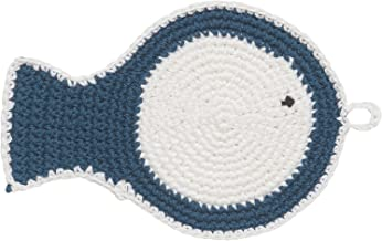 Now Designs Crocheted Coasters, Blue and White, Fish, Set of 4