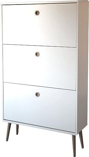Steens Softline Schuhschrank / Kommode, 81 x 141 x 26 cm (B/H/T), MDF Holz, Weiß, schlicht, ca. 24 Paar Schuhe