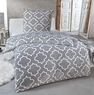 MALIKA Kuschelige Winter Plüsch Bettwäsche Cashmere-Touch Coral Fleece mit Kissenbezug 80x80 wärmer als Biber oder Flanell, Größe:135x200  80x80, Design - Motiv:Design 4