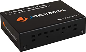 J-Tech Digital H.264 1080p@60Hz Encoder Supports RTSP, RTP, RTMPS, RTMP, HTTP, UDP Protocol and ONVIF for IPTV, Live Broadcast Supports YouTube, Facebook, Twitch [JTECH-ENCH4]
