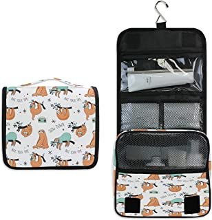 AUUXVA Travel Hanging Toiletry Bag Cute Animal Flower Sloth Pattern Portable Cosmetic Make up Bag case Organizer Wash Garg...