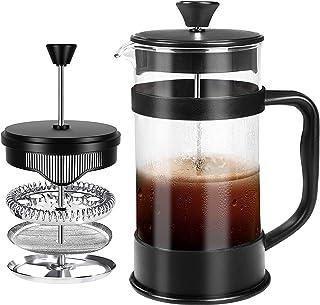 Fransk kaffepress, svart - 1000 ml / 1 liter / 8 koppar (34 oz) Espresso- och tebryggare med trippelfilter, kolv i rostfri...