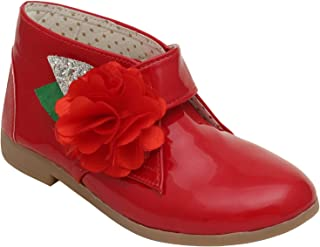 D'chica Red Ankle Boots with Side Flower Bow for Girls