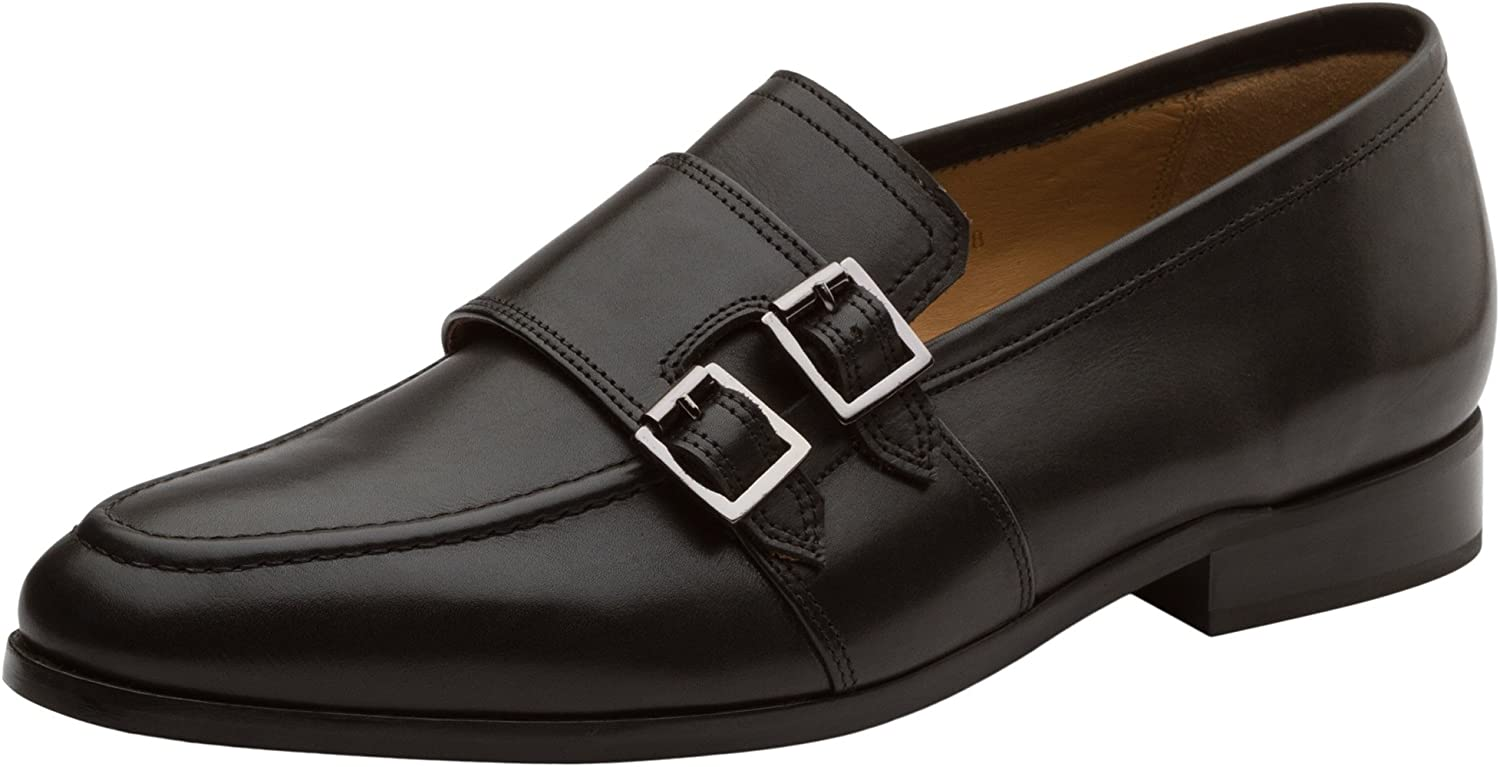 Dapper shoes Co. Handcrafted Genuine Men's Classic Double Monkstrap Slip- On Leather Lined Dress shoes