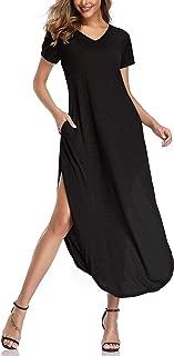 oten Women's Maxi Dresses Casual Split V Neck Loose Fit Long Dress Short Sleeves with Pockets