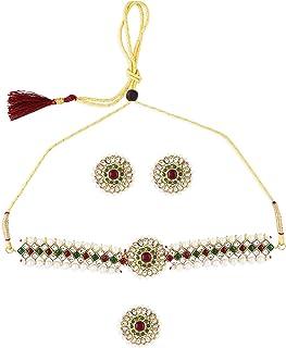 Zaveri Pearls Green & Pink Traditional Kundan Choker Necklace Earring & Ring Set For Women-ZPFK10803