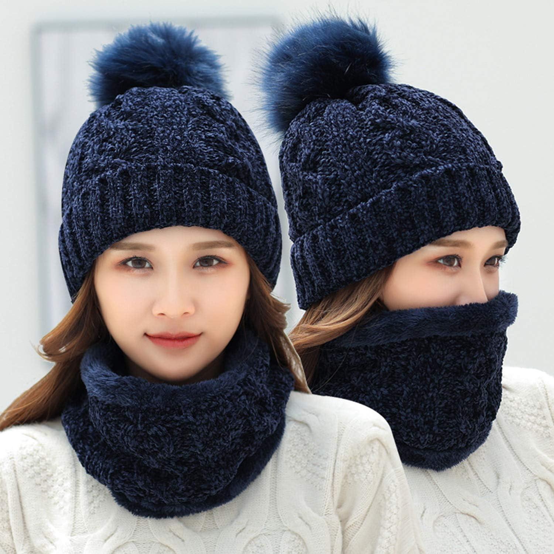 heekpek Chapeau /à Pompon Cache-cou Ensemble Bonnet /Écharpe Femme pour Hiver
