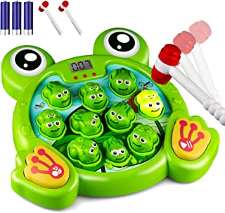 KKONES Music Super Frog Game Toddler Toys - 2 Hammers Baby Interactive Fun Toys Toddler Activities Games with Music&Light ...