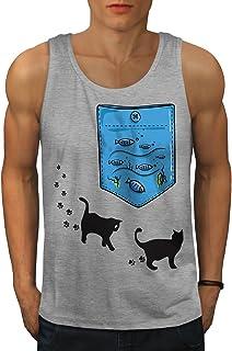 Wellcoda キティ 魚 海 海洋 ネコ 男性用 S-2XL タンクトップ