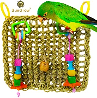 Bird Foraging Wall Toy Hanging Hook - Seagrass Woven Mat Safe to Chew Beak Exercise IQ Simulation Small & Medium Bird - Tuck Treats in Waffle Ball pod Cups - Long Lasting