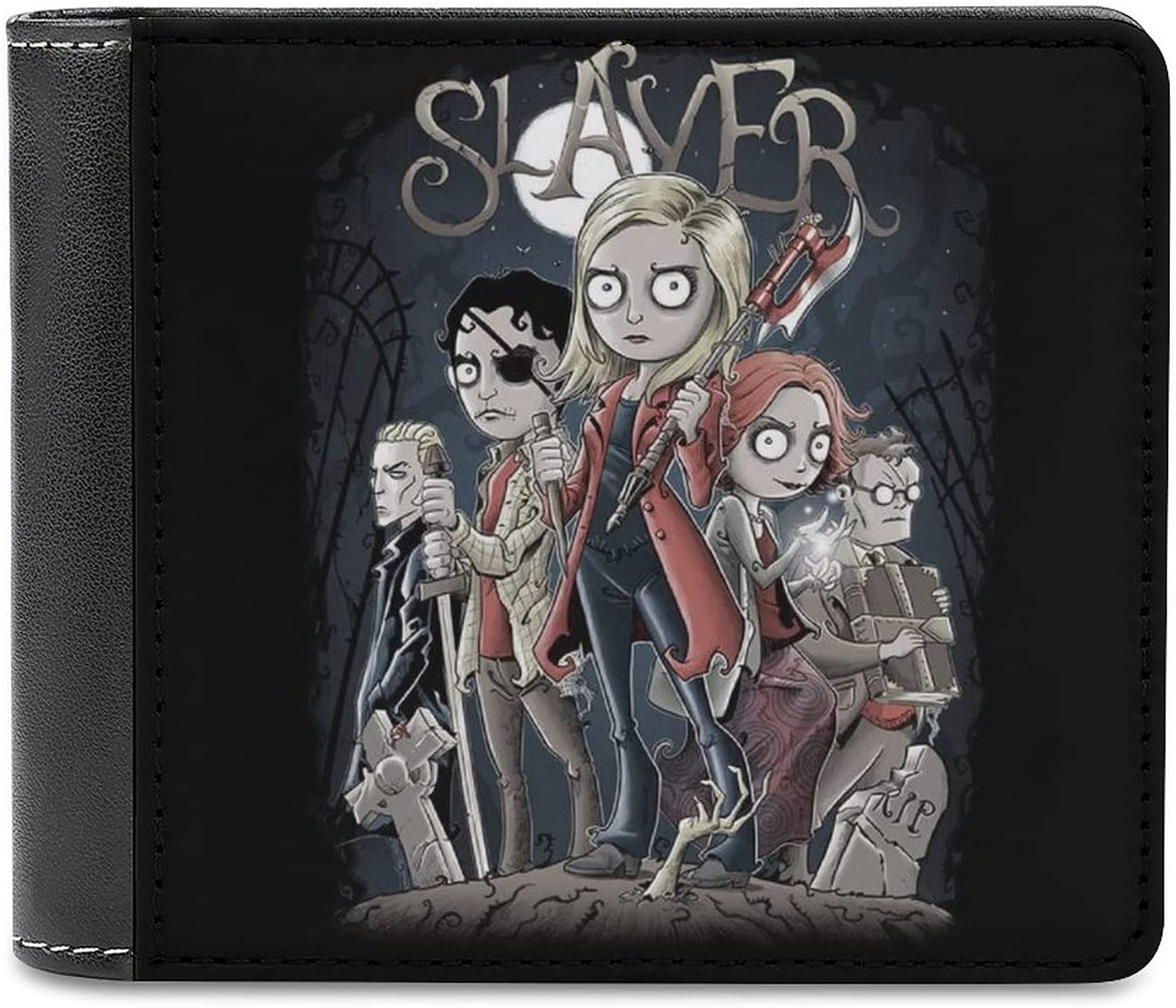 Buffy The Vampire Slayer Tim Burton Style Leather bi-fold wallet, large-capacity credit card holder, comfortable and delicate touch