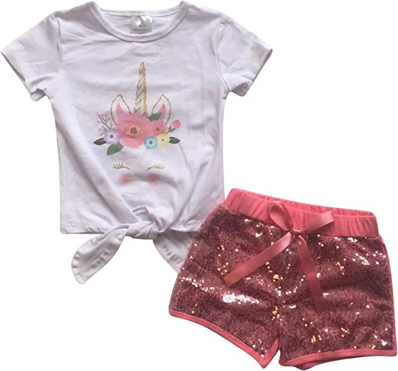 Unique Baby Girls Glitter Unicorn Summer Short Set Outfit