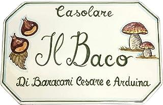 CERAMICHE D'ARTE PARRINI- Ceramica italiana artistica, numero civico in ceramica 23x15 personalizzato, decorazione castagn...