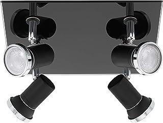 EGLO Lámpara de techo Tamara 1, 4 focos, moderna, clásica, de acero y cristal, lámpara de salón en negro, cromo, transparente, lámpara de cocina, foco de baño con casquillo GU10, IP44