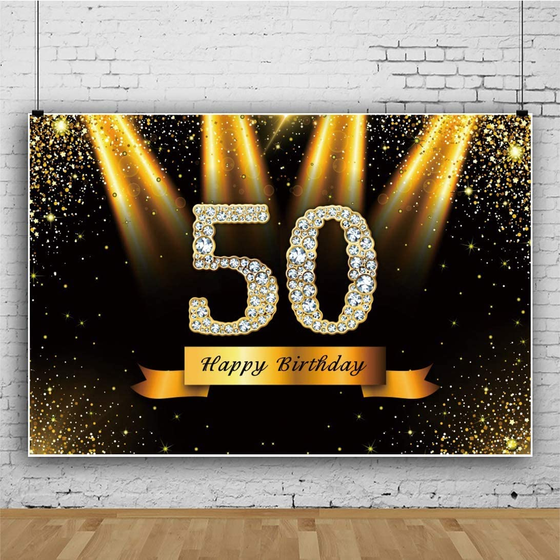 15x10ft Vinyl Photography Backdrop Happy 50th Birthday Golden Diamond Words High Heels Sequins Ribbons on Black Background 50 Years Old Birthday Party Decorations Photo Studio Prop
