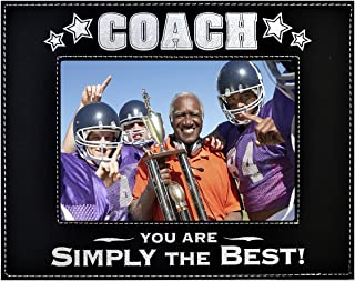 COACH PICTURE FRAME ~ Engraved Leatherette Picture Frame ~ COACH - You Are SIMPLY THE BEST ~ Photo Frame Baseball Football Soccer Any Sport Great Coach Birthday Christmas Gift (Black/Silver, 4x6)