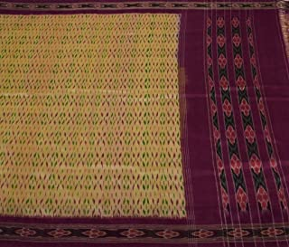 Vintage Indian Saree 100% Pure Silk Hand Woven Ikat Patola Sari Fabric Cream