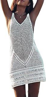 05c7215187 CXINS Women Sexy Hollow Out Deep V Neck Crochet Sleeveless Color Block Bikini  Cover up Bohemian