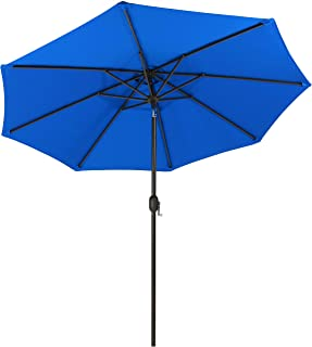 Sunnydaze Sunbrella Patio Umbrella with Auto Tilt and Crank, 9 Foot Outdoor Market Umbrella, Rust Resistant Aluminum, Pacific Blue