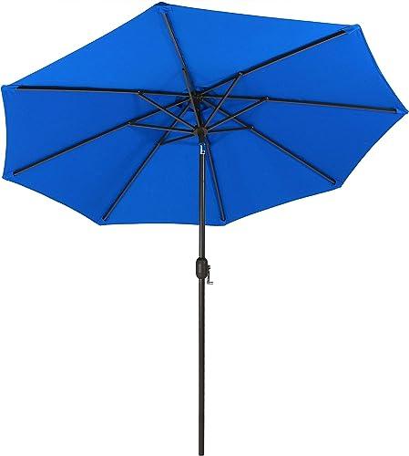 2021 Sunnydaze 9-Foot Aluminum Sunbrella Patio Umbrella with Auto Tilt and Crank, Multiple wholesale Color outlet online sale Options Available online