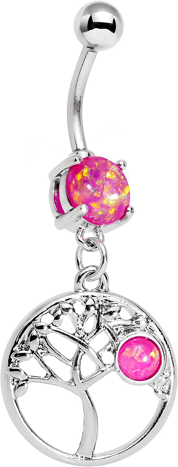 Body Candy Stainless Steel Iridescent Pink Circular Frame Terra Tree of Life Dangle Belly Ring