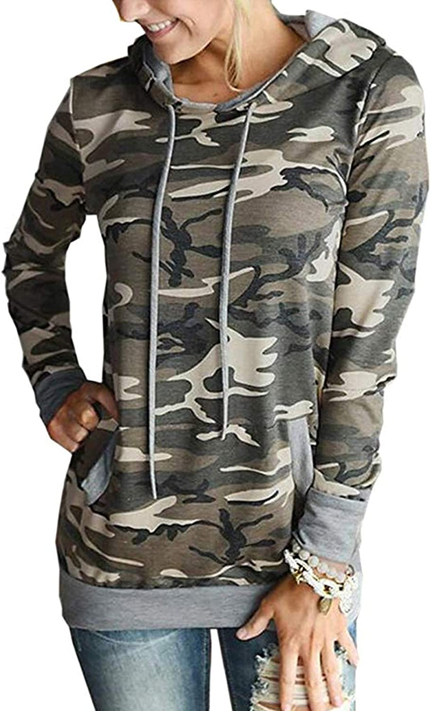 Womens Casual Sweatshirts Camo Hoodies Color Block Long Sleeve Drawstring Hooded Pullover Top