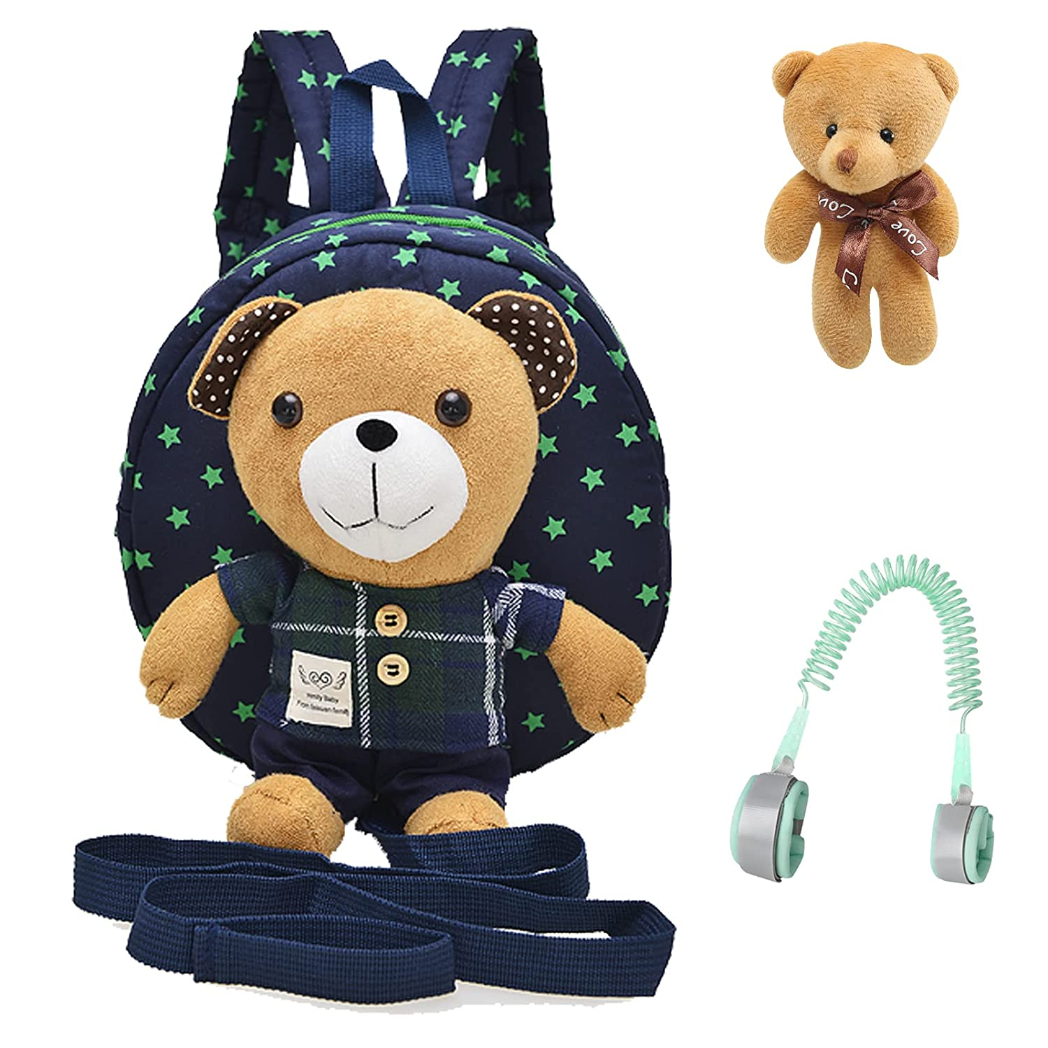 Blue Bear Toddler Mini Backpack with Leash,Children Kids Baby Harness Bookbag Safety Leash for Boys and Girls Age 1-3 Years Old