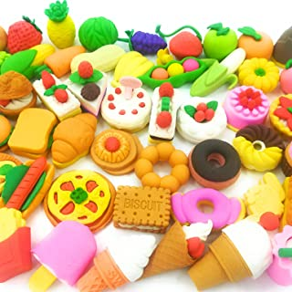 Food Erasers OHill Pack of 46 Pencil Erasers for Kids Pull Apart 3D Mini Erasers Assorted Food Cake Dessert Puzzle Erasers...
