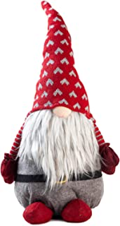 TJ Global Handmade Swedish Gnome Santa Plush Doll, Lucky Gnome, Scandinavian Tomte Santa, Nordic Nisse Sockerbit Elf Dwarf Decoration, Holiday Present, Home Ornaments, Christmas Decoration (19 inch)