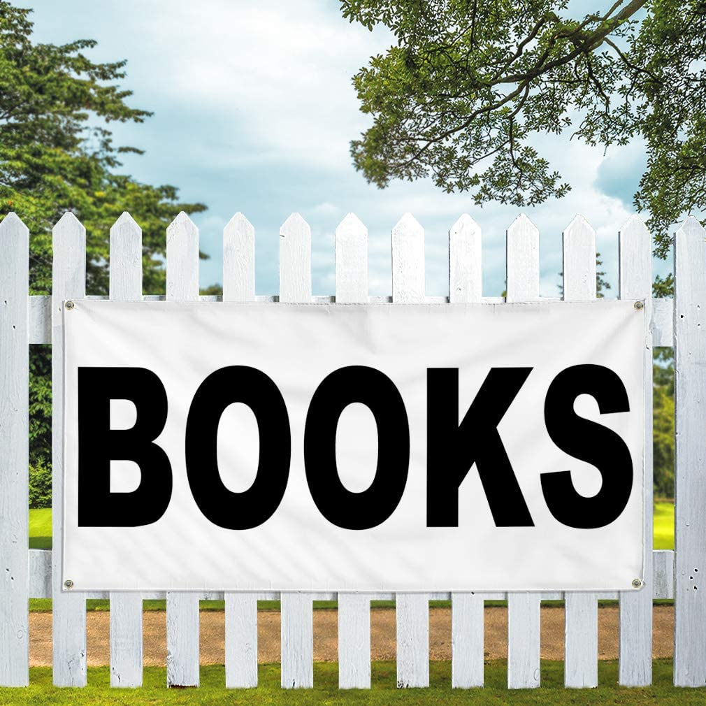 Vinyl Banner Multiple Sizes Books Black Business Outdoor Weatherproof Industrial Yard Signs 10 Grommets 60x144Inches