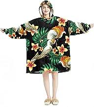 Deken Hoodie, Casual Zachte Microfiber Housecoat, Warm Nachthemd voor Mannen Vrouwen met Inkt Papegaai En Frangipani Ontwe...
