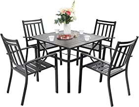 Sophia & William Outdoor 5 Pieces Dining Set with 4 Metal Chairs and 1 Square Table with Umbrella Hole, Modern Patio Furni...