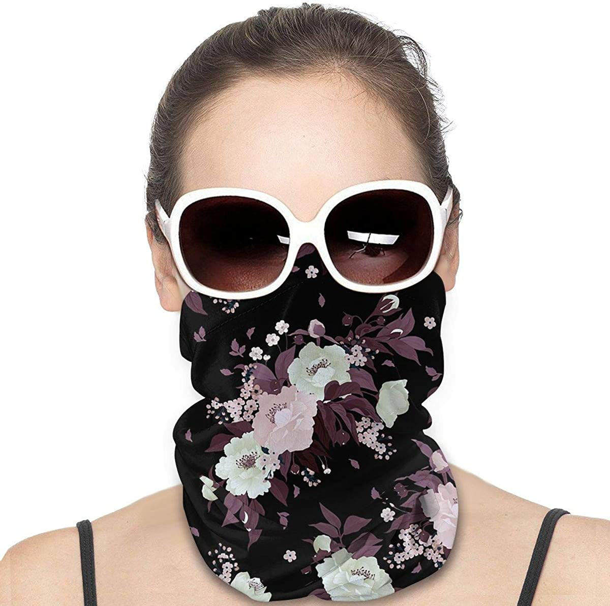 KiuLoam Women Bandanas Face Mask, Seamless Floral Pattern with Roses and Peony Neck Gaiter Mask Headband for Men Face Scarf Dust, Outdoors, Sports