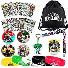 My Hero Academia Bag Set - 1 MHA Drawstring Bag Backpak, 12 Sheet Stickers, 1 Lanyard, 1 Keychain, 1 Phone Ring Holder, 5 Bracelets, 4 Button Pins for Anime MHA Fans (black)