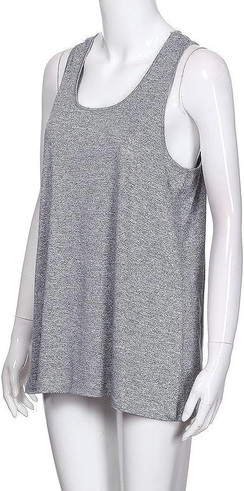 TUDUZ Damen Große Größe Camisole Rundhals Falten T-Shirt Weste Bluse Ärmellos Stretch Tunika Top X-grau