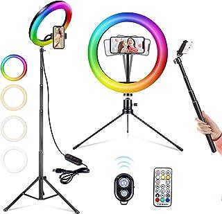 RGB Anillo de Luz LED, ACTION Aro de Luz para Movil con 2 Trípodes, 26 RGB Colores Regulable, Control Remoto Bluetooth, 9 ...