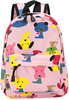 Zicac Childrens' Cute Canvas School Backpacks Mini Rucksack School Bag for Kids Toddlers (M, Pink)
