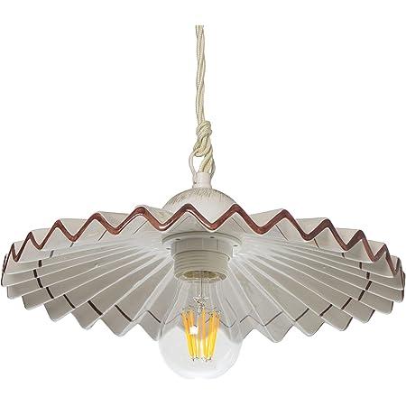 VANNI LAMPADARI- Lampada sospensione piatto plisse diametro 30 in Ceramica Decorata a Mano Disponibile in 5 Colori