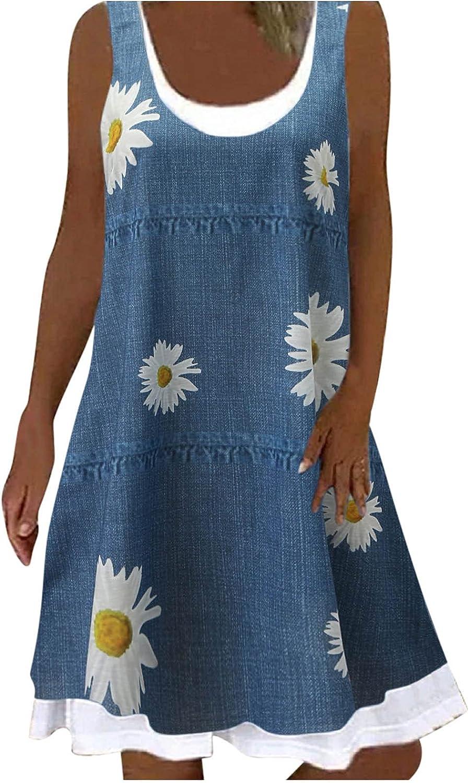 Smooto Summer Dresses for Women Sleeveless Maxi Loose Beach Sundress Tank Dress