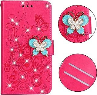携帯電話レザーケース ダイヤモンドのついた蝶愛花柄水平反転レザーケースHuawei P Smart(2019)/名誉10 Lite、ホルダー付き&カードスロット&財布&ストラップ(バタフライパープル) レザーケース (色 : Butterfly plum red)