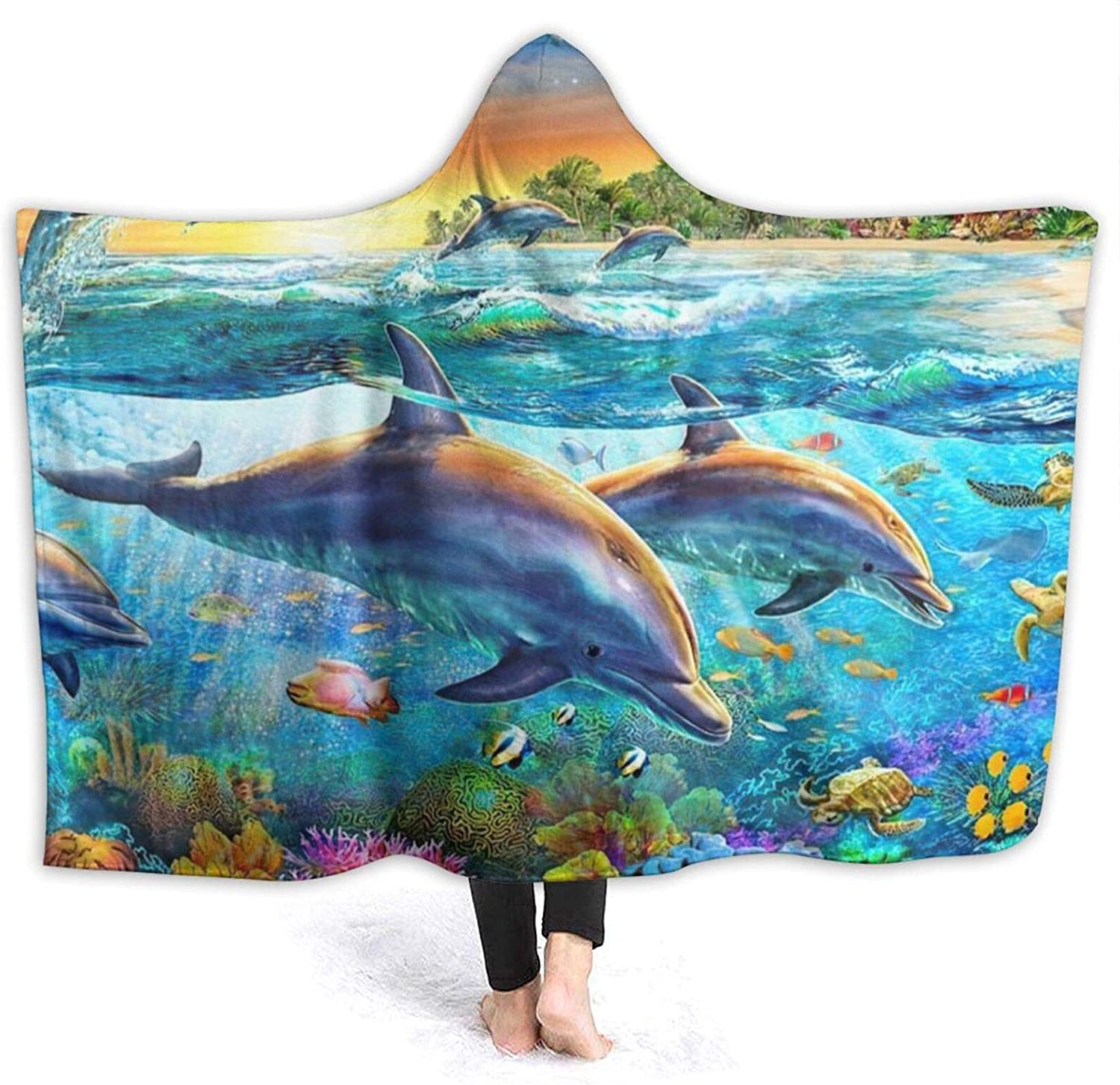 Cheap mail order sales 3D Dolphins Dreamy Sea Hooded In a popularity Blanket Conditioning Air T