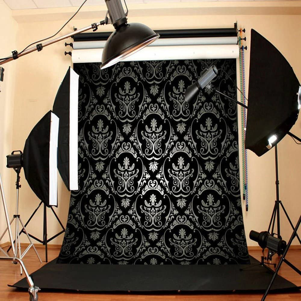 Focussexy 5 x7ft Vivid Pattern Backdrop Retro Black Damask Background Ideal for Studio Photography Video Television Backdrops or Home Wall Decor1.5 x2.1m